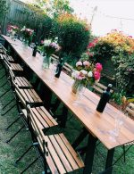 1.8 Timber Trestle Table and Rustic Timber Chairs